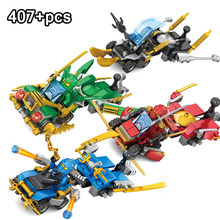 407pcs Ninjaed Racing Car With Kai Jay Figures Building Blocks Compatible Legoing Ninjagoes Set Speed Bricks Toys For Children(China)