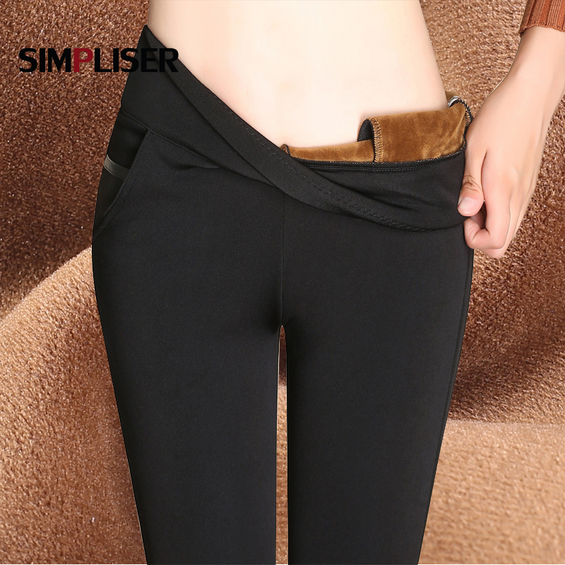Warm Pants Women 2019 Winter Velvet Thicken Trousers High Waist Stretch OL Ladies Work Pencil Pants Big Sizes Grey Black Blue