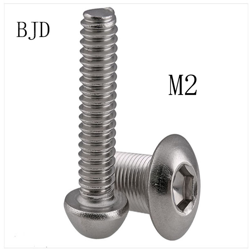 100Pcs <font><b>M2</b></font> bolts <font><b>2mm</b></font> ISO7380 304 Stainless steel inner six angle screws round head bolts screws pan head round cup mushroom head image