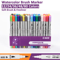 Watercolor Dual Tip Brush Marker Pen Set 24/36/48/80 Color Brush Tip with 0.4mm Fineliner For Coloring Sketching Calligraphy