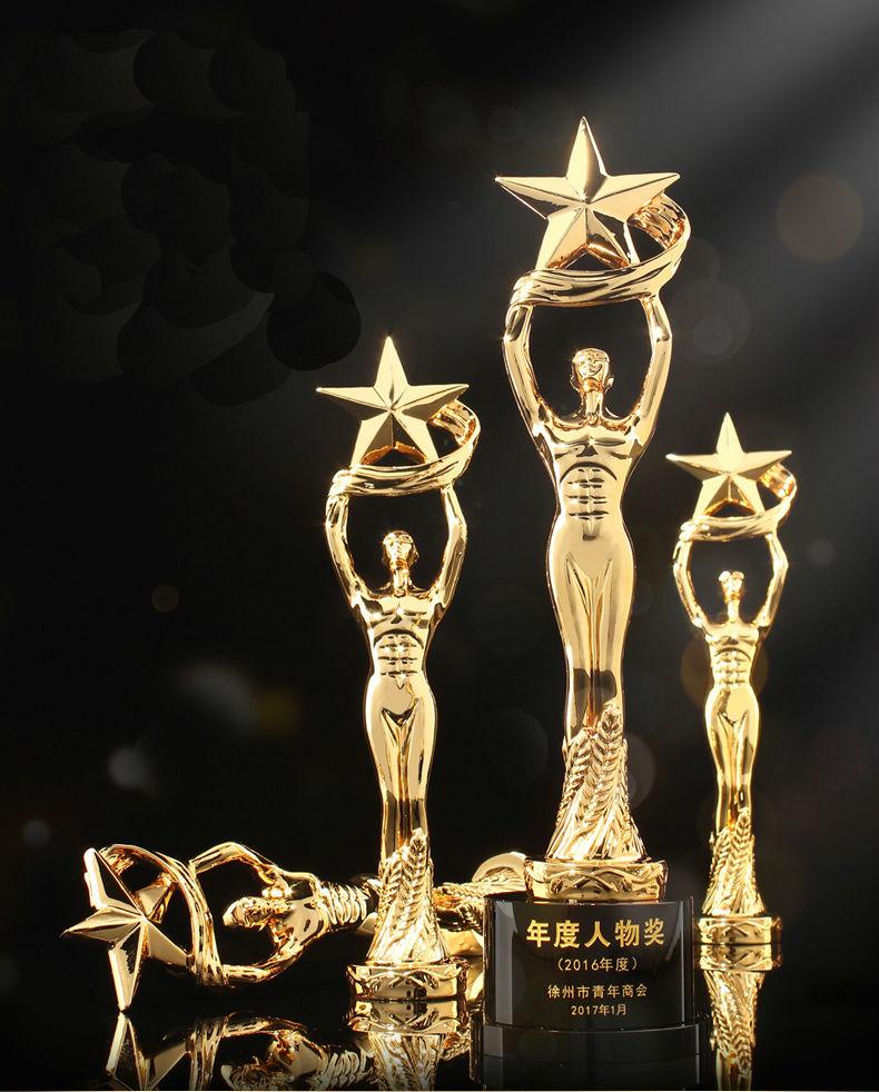 Haute qualité! Oscar Little Golden Man trophée cristal étoile à cinq branches trophée Excellent personnel métal trophée, livraison gratuite!