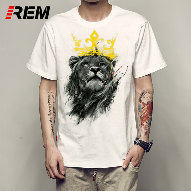 REM King Of Lion T-Shirt Men O-Neck TShirt Male Cotton Short Sleeve Man Tee Shirt Summer Fitness Brand Clothing For Adult
