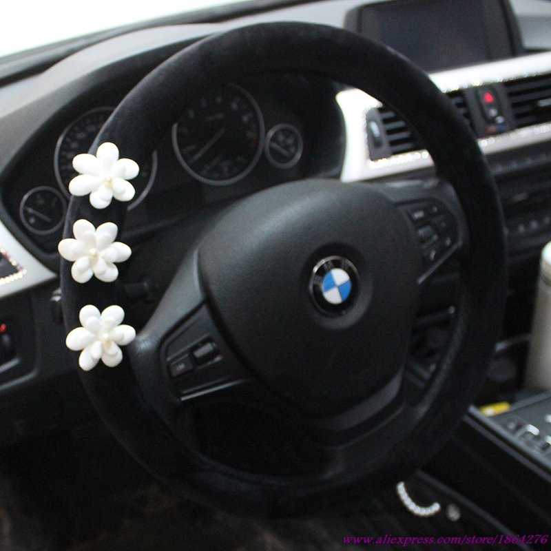 Ladycrystal Car Steering Wheel Cover Soft Velvet Auto Steering Wheel Covers Daisy Car Styling Interior Decor Accessories