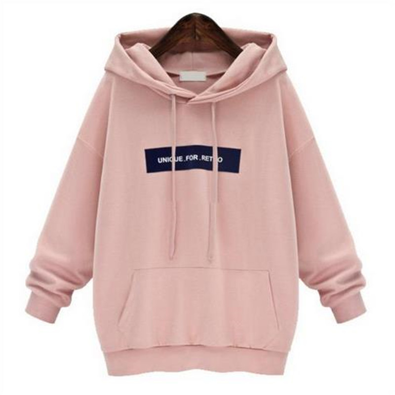 Winter Casual Cotton Love Pink Sweatshirt Kpop Cute Women Hoodie Long Fleece Plus Size M ...
