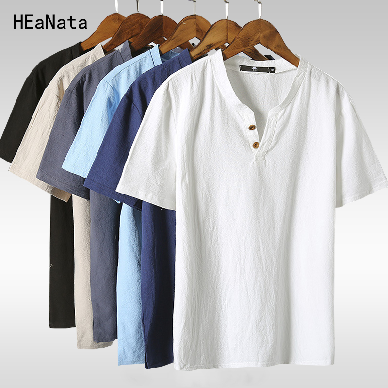 Short T shirts 2018 New Summer Style V-neck Chinese Style Linen T shirts Slim Fit Breathable Short-Sleeved Tees Big Size 5XL