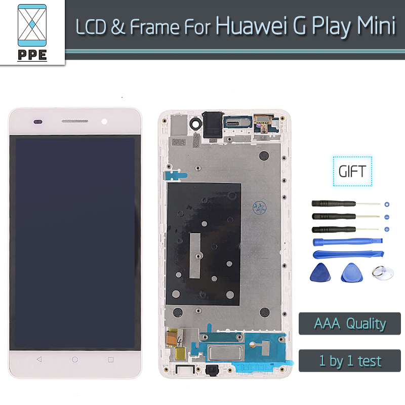 For Huawei G Play Mini LCD replacement AAA LCD display touch screen panel digitizer assembly with frame black white 5 pantalla 5lcd replacement for huawei ascend p7 lcd display with frame touch panel screen digitizer glass assembly black white tool