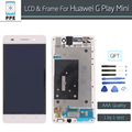 "Para huawei g play mini reemplazo lcd aaa pantalla lcd panel de pantalla táctil digitalizador asamblea con marco negro blanco 5 ""pantalla"