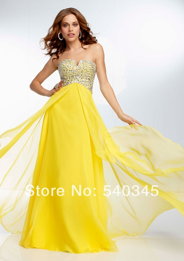 Hollow Straight Strapless Floor-Length Long   Prom     Dresses   2014 Crystal Sequined Beading Colorful Sexy Chiffon Party   Dress   A46