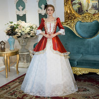 Customized 18th Century European Court Rococo Long Dress Square Collar Red and White Marie Antoinette Ball Gowns For Women
