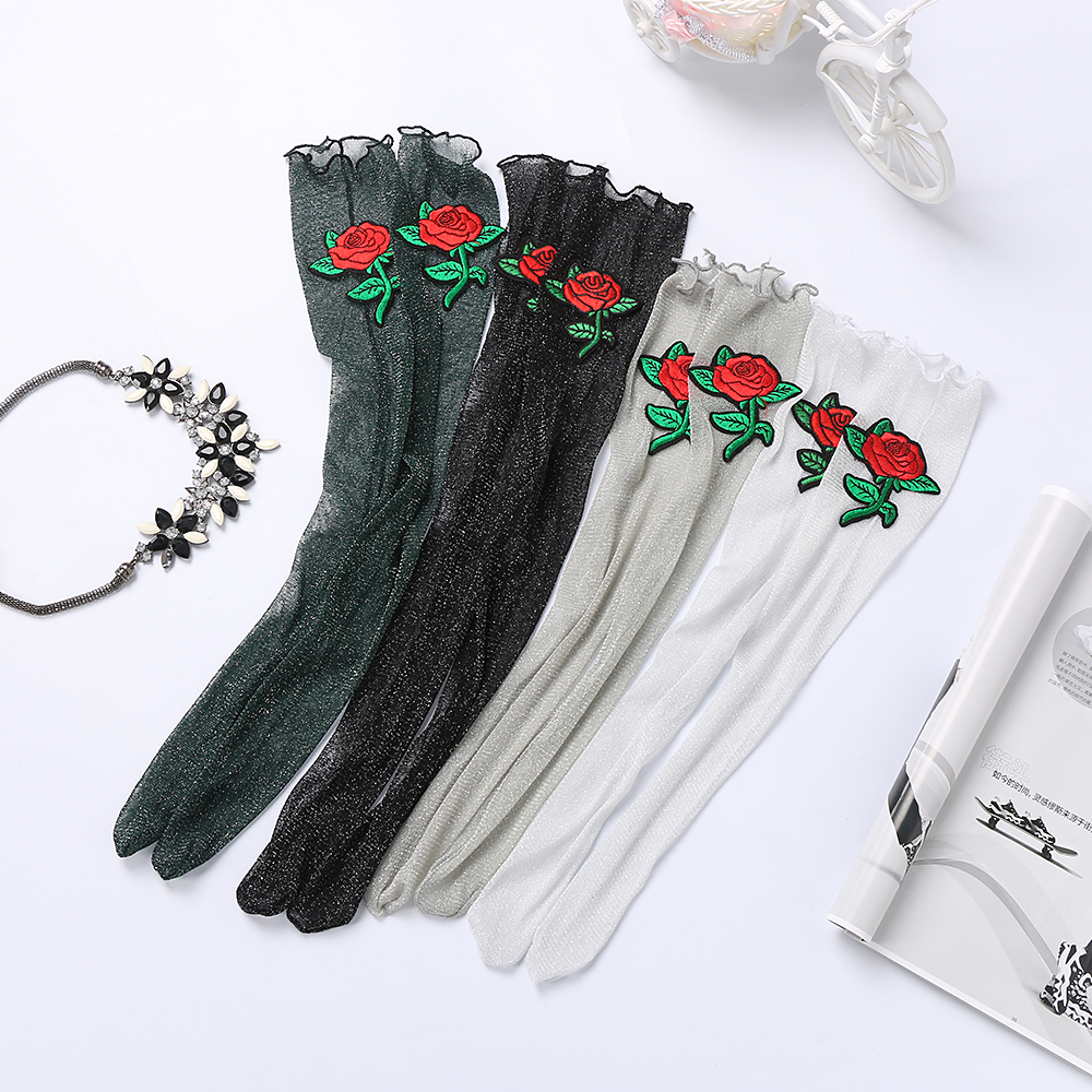 Women Solid Color Black Glitter Embroidered Roses Mesh Soft Ankle Short