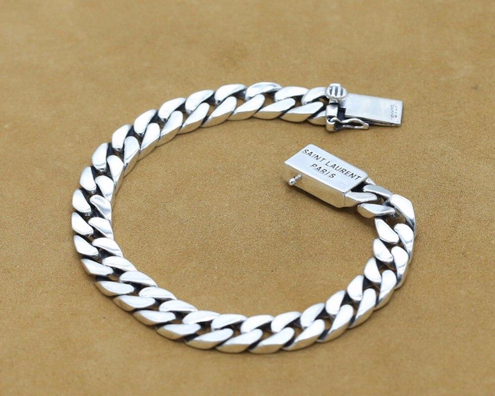 Bracelets de luxe en argent Sterling 925 pour hommes Bracelet de chaîne à maillons polis pour hommes Vintage Punk Rock Biker bijoux pour hommes S108