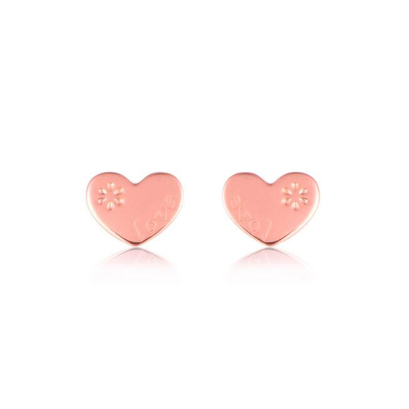 2018 100% 18K Gold Petite Plain Love Heart Stud Earrings for Women Rose Gold Small Earrings Fine Jewelry brincos 0.85g yoursfs charms rhinestone rose stud earrings 18k gold plated fashion cz jewelry delicate crystal rose women stud earrings for wom