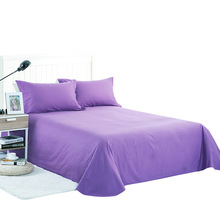 Flat Sheet With Pillowcase 100% Cotton Bed Set  Solid Colour Double Colourful Brief Linens Twin Queen King