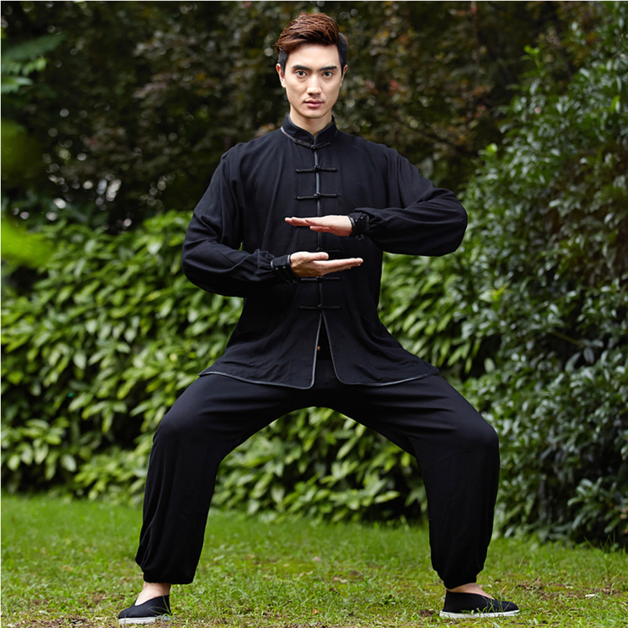 New Black Chinese Men Kung fu Uniform Cotton Tai Chi Suit Vintage Button Clothing M L XL XXL XXXL NS018 free shipping new sale chinese kung fu suit women tai chi clothing 100