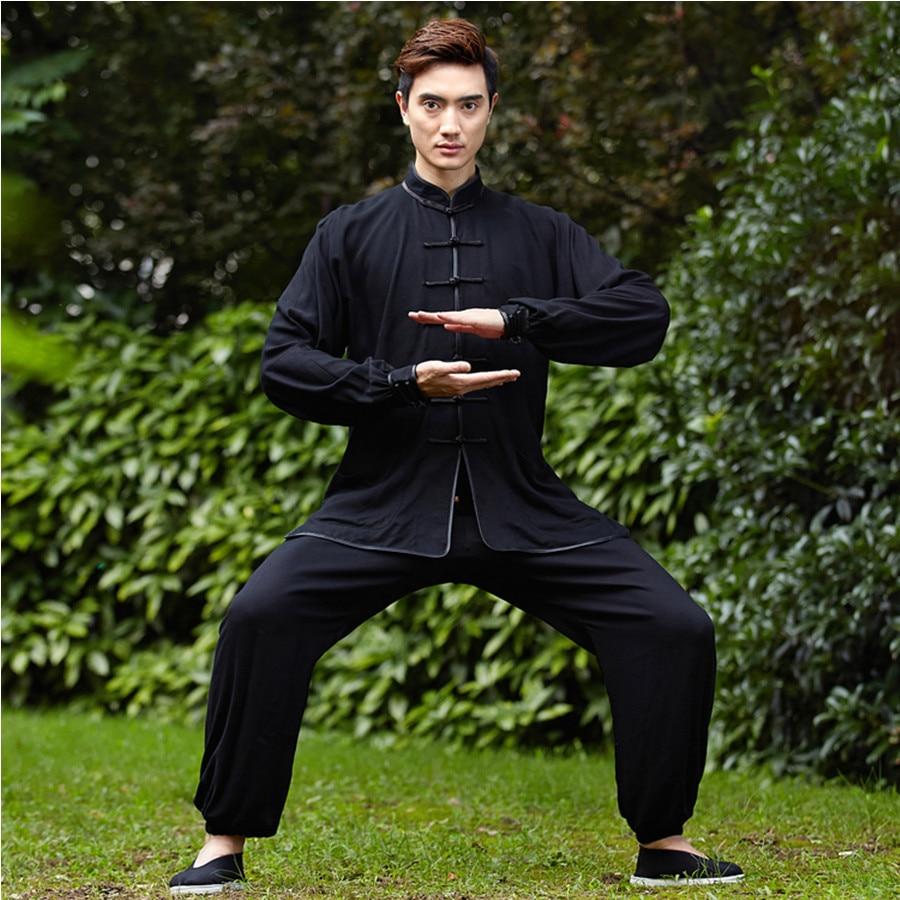 New Black Chinese Men Kung Fu Uniform Cotton Tai Chi Suit Vintage Button Clothing M L XL XXL XXXL NS018
