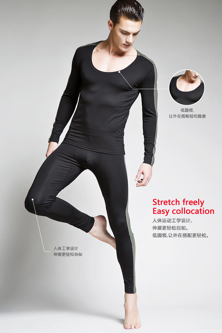 Bodysuit Stretchable Pajamas-Sets Undershirts Lounge Male Winter Casual Autumn Gay 3-Color