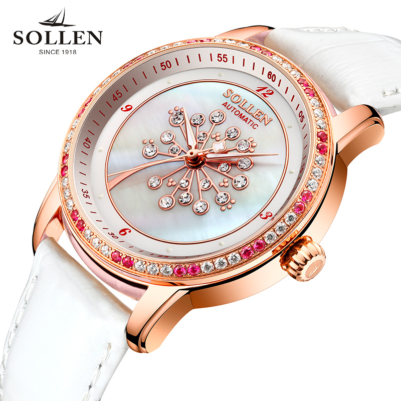 Relogio Feminino SOLLEN Women Watches Fashion Genuine Leather Luminous automatic mechanical Wristwatches Clock for Female Lady relogio feminino just for us