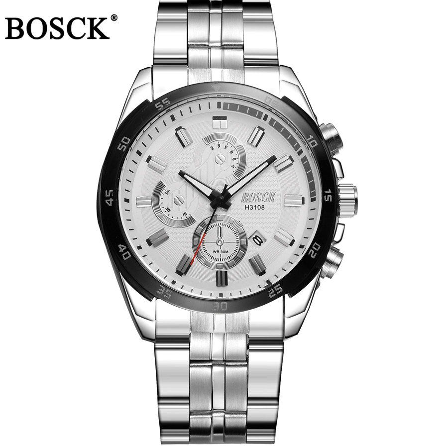 BOSCK Brand Top Luxury Full Steel Men Watches Men Business Quartz Watch Auto Date Waterproof Relogio Masculino Relojes Hombre  цена