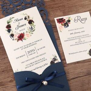Image 5 - 50 個紺新到着水平レーザーカット結婚式の招待状rsvpカード、真珠リボン、カスタマイズ可能な