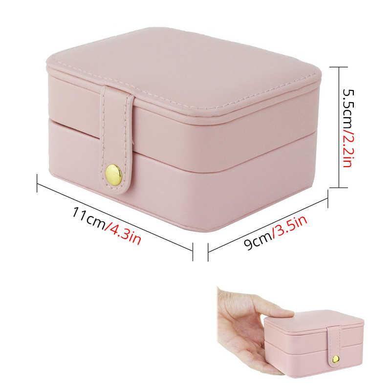 إكسسوارات السفر الصغيرة حافظة مجوهرات تخزين النعش حلقة جلدية القرط المنظم حقيبة هدية لعيد ميلاد الزفاف