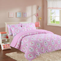 2/3 Piece 100%Cotton Pink Kids Girls Bedspread Quilts Set Throw Blanket for Teens Girls Bed Printed Coverlet, Twin Full Size
