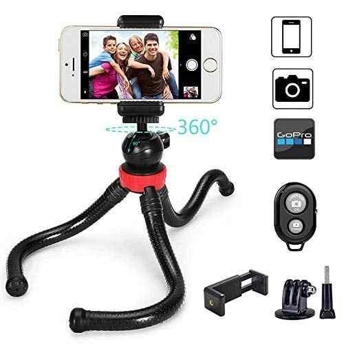 Mactrem Mini Tripod Spons Gurita Fleksibel Ringan Tripod dengan Bluetooth Remote Rana untuk Selfie iPhone Samsung GoPro 100