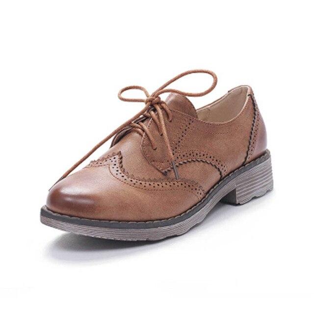 Женщины Оксфорды Старинные Резные Brogue Оксфорд Обувь Для Женщин Мода Круглый Toe Lace Up женская Повседневная Квартиры Женская Кампус обувь