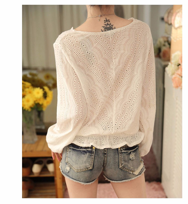 Blusas Femininas 2016 Spring Autumn Women Fashion Plus Size Hollow out Lace Blouse Long Sleeve Sexy Loose White Tops Shirt A602 e