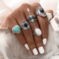5Pcs/Set Antique Gold Color Silver Color Vintage Turquoise Ring Sets Zinc Alloy Rings For Women Steampunk Christmas Gift Jewelry