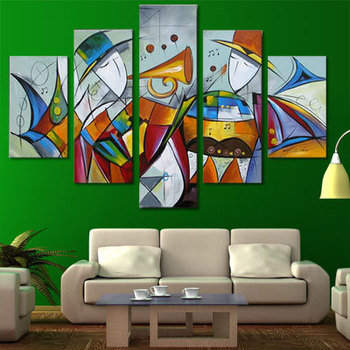 5 Piece Canvas Wall Art 100% Hand Painted Music Festival Carnivals lLiving Room Wall Pictures Abstract Oil Painting On Canvas