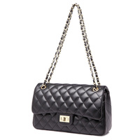 classics women's high quality lambskin flap shoulder   bags   luxury diamond brand square striped   bag   chain caviar leather handbags