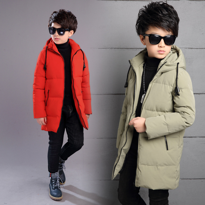 2018 New Boys Autumn Winter Warm Jacket Kids School Hooded Coat Casual Children Cotton-Padded Solid Color Kids Winter Jacket все цены