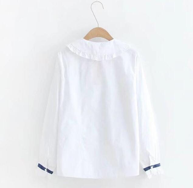 White Women Blouse Harajuku Long Sleeve Elegant Ribbon Bow Ruffled Female Basic Blouse Cute Sweet Lolita Shirt in Blouses amp Shirts from Women 39 s Clothing