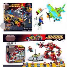 SY841 8019 Spider-Man hulkbuster Ghost Rider Team-UP Motocicleta Hobgoblin Super Heroes ação Figura Blocos de Construção Crianças brinquedos