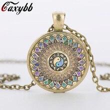 Fashion yin yang jewelry mandala necklaces 1Pcs henna yoga pendant om symbol buddhism zen handmade India style necklace c-n 828