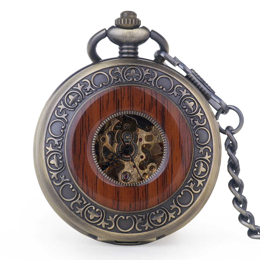 Mechanical Pocket Watches Male Retro Wood Circle Men  Pocket Watch Hand Vintage Steampunk Fob Necklace Clock