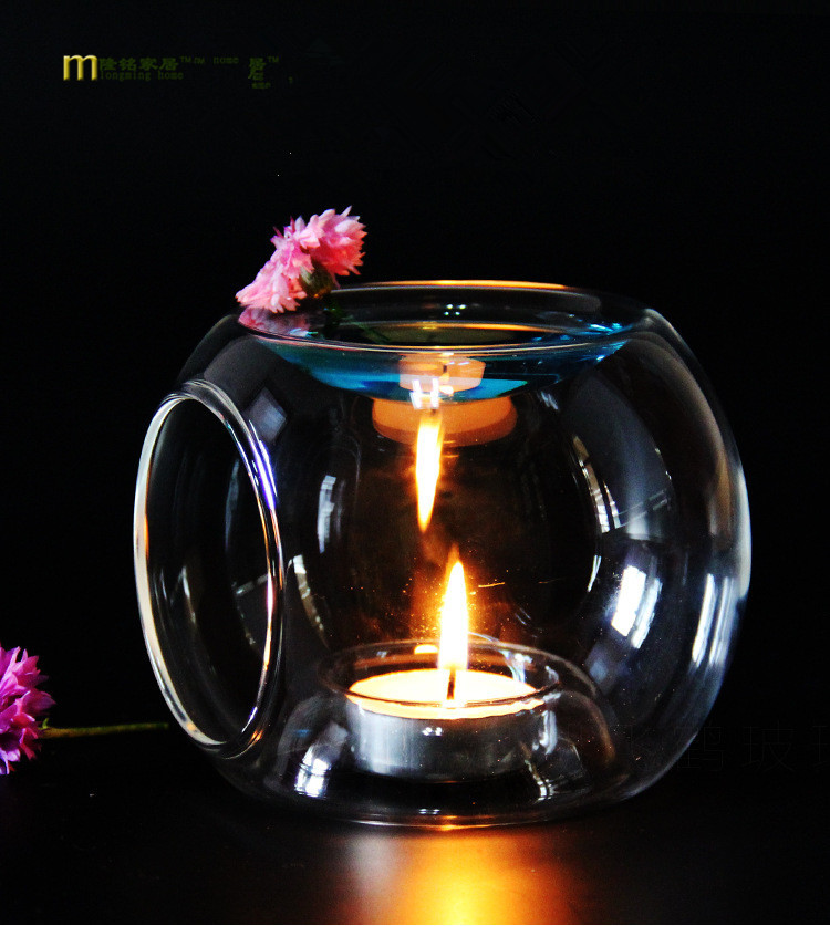 1PC New Glass Oil Incense Burner Candle Aromatherapy Oil Lamp Home Decorations Aroma Furnace Candle Holder LD 151