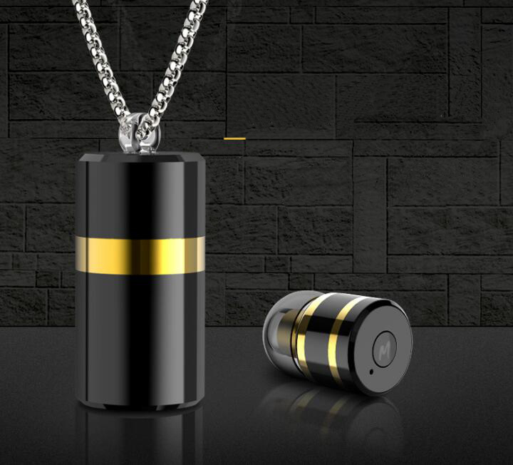 Mini Wireless Bluetooth V4 1 Metal Pendant Earphone Necklace Headset with Storage Box For iphone Android