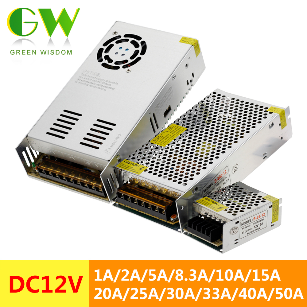 DC12V LED Lighting Transformers 1A 2A 5A 10A 15A 20A 25A 30A 40A 50A LED Driver Power Adapter For LED Strip Light Power Supply.