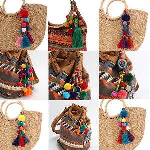 RE breloques sac à la main bricolage pompon porte-clés gland bibelot pompon porte-clés auto porte-clés accessoires femmes voiture porte-clés cadeau D30