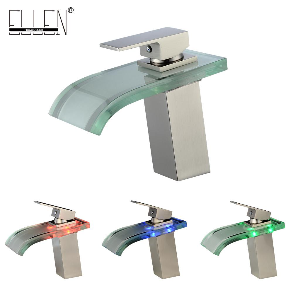 LED Waterfall Bathroom Sink Faucet  Hot and Sink Water Mixer Tap Brush Nickel  Waterfall Glass Faucets
