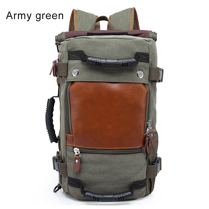 Stylish Travel Large Capacity Backpack Male Luggage Computer Backpacking Functional Versatile Bags Popular canvas style leather travel large capacity backpack male luggage shoulder bag computer backpacking men functional versatile bags