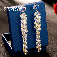 SINZRY original Austria crystal bridal Jewelry handmade 925 sterling silver exaggerated long crystal earrings for women