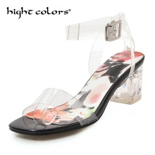 Women Sandals Ankle Strap High Heels PVC Clear Crystal Concise Classic Buckle Strap High Quality Shoes Size 34-43