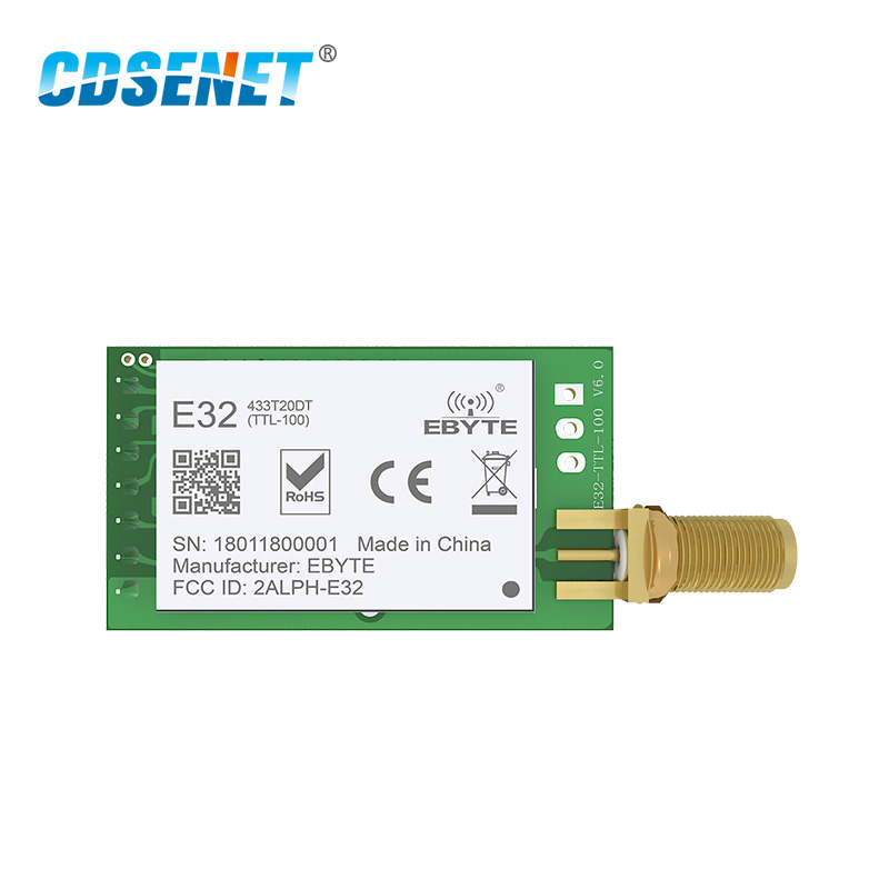 SX1278 LoRa 433MHz 20dBm SMA-K Connector transceptor inalámbrico E32-433T20DT UART 100mW Larga Distancia IoT RF transmisor receptor