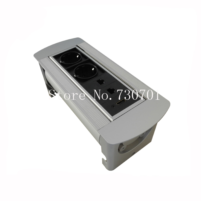 New Conference Tabletop Hidden Manual Rotating Power Sockets with EU Power HDMI for Office Furniture silver/black