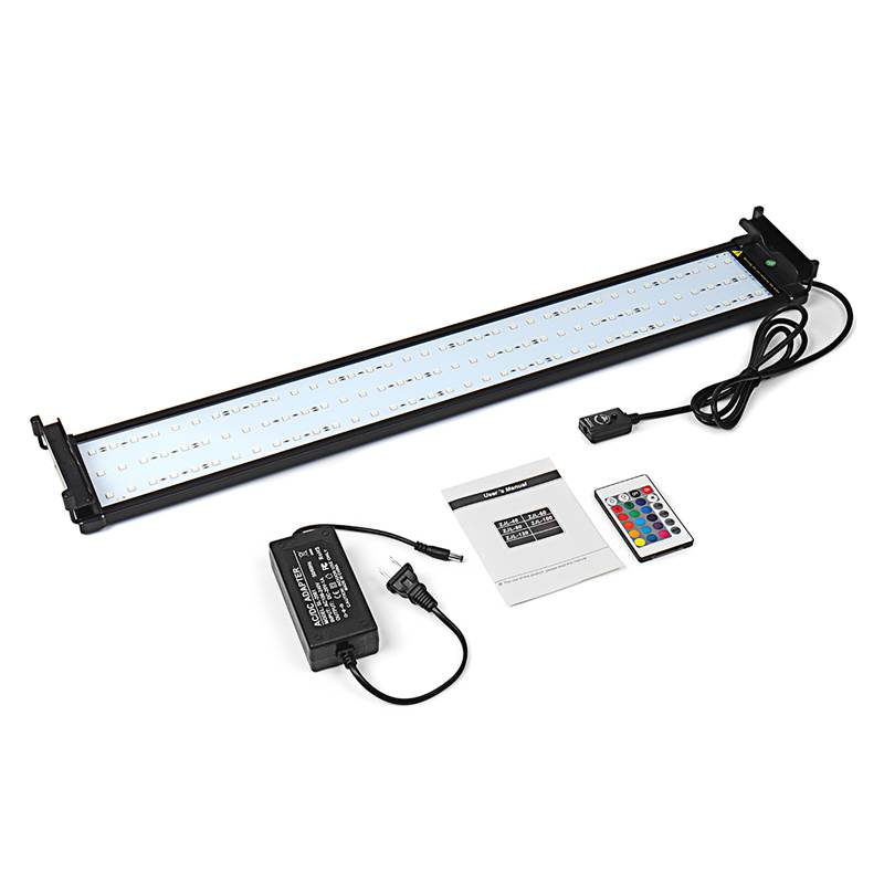 Mising 72cm RGB Aquarium Fish Tank Light 18W Multi Color LED Plant Light Bar With Remote Control 110-240V US/EU Plug 15w aquarium clip lamp fish tank light led display intelligent touching control changeable light color temp inductor water plant