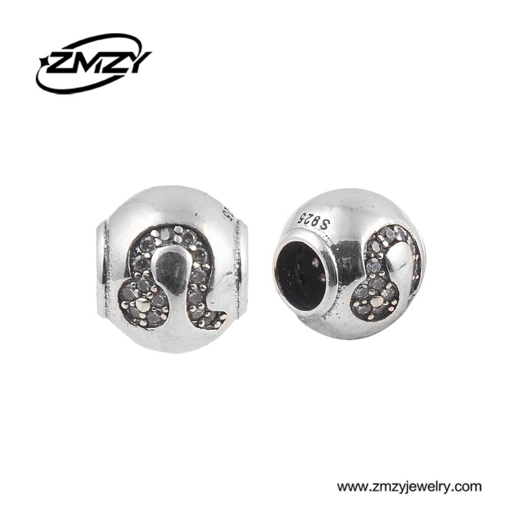 ZMZY 100% 925 Original Sterling Silver Crystal Leo Mark Big Hole Charm Beads Fit Pandora Charm Bracelet DIY Jewelry