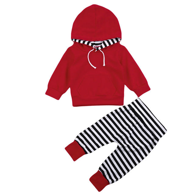 ba5926707 Toddler Toddler Baby Boys Girls string Hooded Pullover Tops Striped Pants  Trousers Outfits Winter Baby Clothes Tracksuit