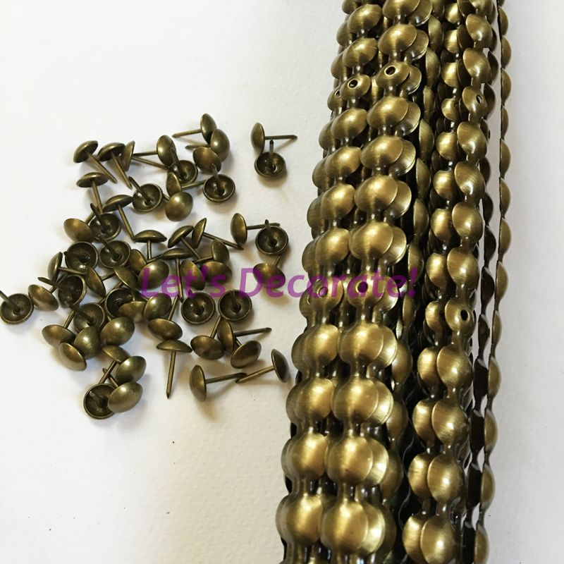 Free Shipping 10meters Lot 11mm Brass Color Plated Upholstery Tacks